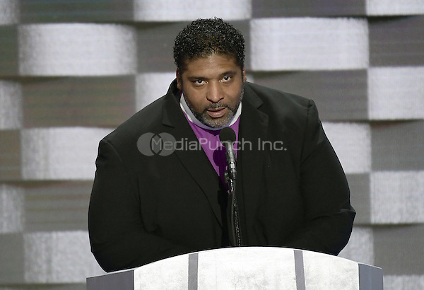 Reverend Doctor William Barber II of North Carolina makes remarks during the fourth session of the 2016 Democratic National Convention at the Wells Fargo Center in Philadelphia, Pennsylvania on Thursday, July 28, 2016.<br /> Credit: Ron Sachs / CNP/MediaPunch<br /> (RESTRICTION: NO New York or New Jersey Newspapers or newspapers within a 75 mile radius of New York City)