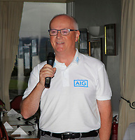 Philip Coburn (AIG) speaking during the award presentation during the Munster Final of the AIG Junior Cup at Tralee Golf Club, Tralee, Co Kerry. 13/08/2017<br /> Picture: Golffile | Thos Caffrey<br /> <br /> <br /> All photo usage must carry mandatory copyright credit     (&copy; Golffile | Thos Caffrey)