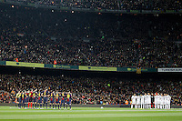 FC Barcelona's and Real Madrid's players in minute of silence before Copa del Rey - King's Cup semifinal second match.February 26,2013. (ALTERPHOTOS/Acero) /NortePhoto