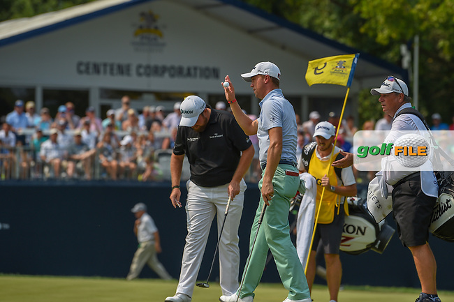 Justin Thomas (USA) is introduced on the green on 9 during 4th round of the 100th PGA Championship at Bellerive Country Club, St. Louis, Missouri. 8/12/2018.<br /> Picture: Golffile | Ken Murray<br /> <br /> All photo usage must carry mandatory copyright credit (© Golffile | Ken Murray)