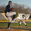 Joe Murphy #5, Wantagh centerfielder, extends his lead off of second base as Hewlett pitcher #22 JJ Lantigua delivers to the plate in the bottom of the fifth inning of a Nassau County varsity baseball game at Wantagh High School on Tuesday, Apr. 5, 2016. Wantagh won by a score of 9-4.