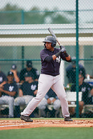 GCL Yankees East right fielder Christian Andrade (11) at bat during the second game of a doubleheader against the GCL Pirates on July 31, 2018 at Pirate City Complex in Bradenton, Florida.  GCL Pirates defeated GCL Yankees East 12-4.  (Mike Janes/Four Seam Images)