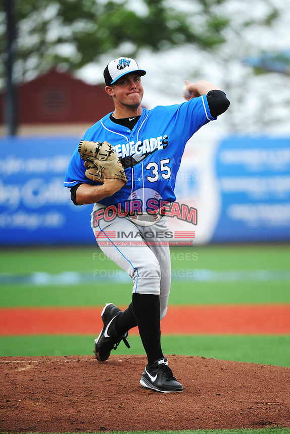 Hudson Valley Renegades pitcher Kevin Brandt (35) during game against the Brooklyn Cyclones at MCU Park on July 28, 2013 in Brooklyn, NY.  Brooklyn defeated Hudson Valley 4-2.  Tomasso DeRosa/Four Seam Images