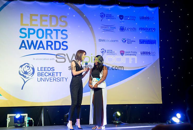 Picture by Allan McKenzie/SWpix.com - 03/03/16 - Commercial - Leeds Sports Awards 2016 - New Dock Hall, Leeds, England - Tanya Arnold interviewing Kadena Cox.