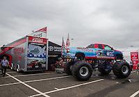 Jun 5, 2015; Englishtown, NJ, USA; NHRA Toyota monster truck in the Toyota display during qualifying for the Summernationals at Old Bridge Township Raceway Park. Mandatory Credit: Mark J. Rebilas-