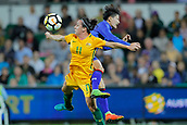 26th March 2018, nib Stadium, Perth, Australia; Womens International football friendly, Australia Women versus Thailand Women; Lisa De Vanna of the Matildas wins the header against Natthakarn Chinwong of Thailand during the first half