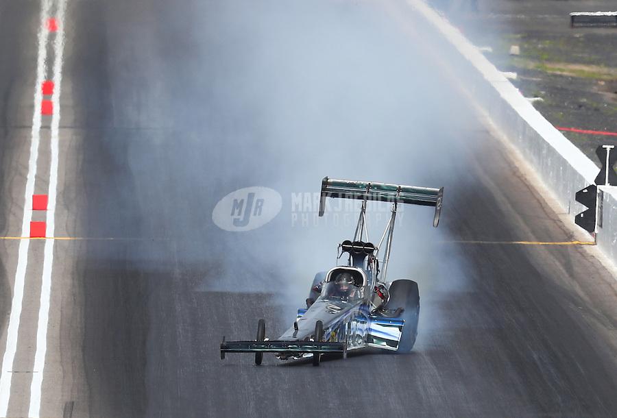 Feb 26, 2017; Chandler, AZ, USA; NHRA top fuel driver Terry Haddock goes sideways during the Arizona Nationals at Wild Horse Pass Motorsports Park. Mandatory Credit: Mark J. Rebilas-USA TODAY Sports