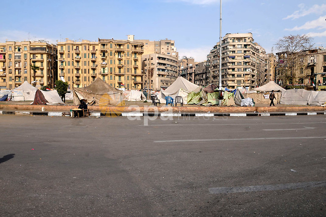 A picture shows anti-government protesters tents in Cairo's landmark Tahrir square on February 26, 2013. Photo by Tarek al-Gabas