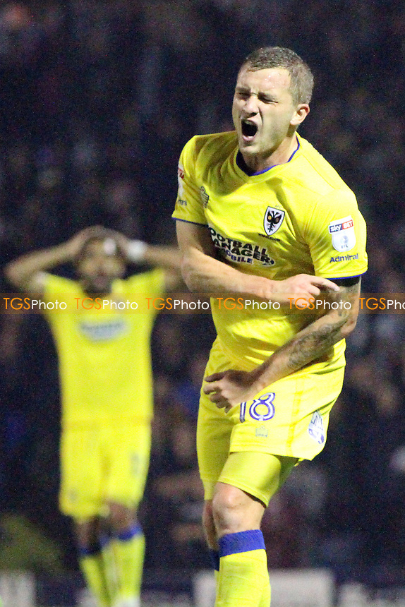 Dean Parrett of AFC Wimbledon not happy that his goal was disallowed during Southend United vs AFC Wimbledon, Sky Bet EFL League 1 Football at Roots Hall on 26th September 2017