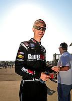 Sept. 27, 2008; Kansas City, KS, USA; NASCAR Nationwide Series driver Joey Logano during qualifying prior to the Kansas Lottery 300 at Kansas Speedway. Mandatory Credit: Mark J. Rebilas-