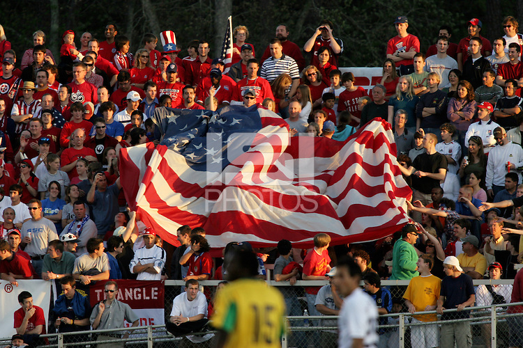 Sam's Army unfurls the USA flag. The USA tied Jamaica 1-1 at SAS Soccer Park in Cary, N.C. on April 11, 2006.