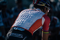 As it is an exceptional mild/warm 23&deg;C mid-oktober in Belgium, Mathieu van der Poel (NED/Beobank-Corendon) is wearing a cooling vest to the start<br /> <br /> Elite Men's Race<br /> CX Super Prestige Zonhoven 2017