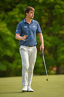 Ollie Schniederjans (USA) after sinking his putt on 5 during 4th round of the 100th PGA Championship at Bellerive Country Club, St. Louis, Missouri. 8/12/2018.<br /> Picture: Golffile   Ken Murray<br /> <br /> All photo usage must carry mandatory copyright credit (© Golffile   Ken Murray)