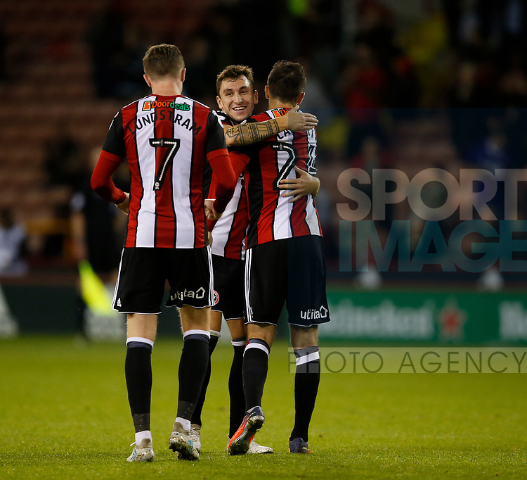 Nathan Thomas of Sheffield Utd  celebrates with scorer Daniel Lafferty of Sheffield Utd during the Carabao Cup First Round match at Bramall Lane Stadium, Sheffield. Picture date: August 9th 2017. Pic credit should read: Simon Bellis/Sportimage