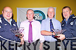 Hanging up the whistle for the final time were Referees Noel Allen and Anthony Quinn, pictured here with John Fennessy(V Chairperson), left and David Noughton(Chairperson) right at the Desmond League Schoolboys/girls soccer awards last Saturday night in The Gables, Athea..
