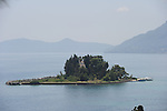View from Kanoni Peninsula in Corfu, Greece of Mouse Island.