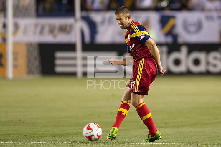 CARSON, CA - March 8, 2014: LA Galaxy vs Real Salt Lake match at the StubHub Center in Carson, California. Final score, LA Galaxy 0, Real Salt Lake  1.