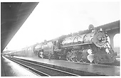 D&amp;RGW #1203 and #1202 double heading a passenger consist in Denver.<br /> D&amp;RGW  Denver, CO  7/15/1938