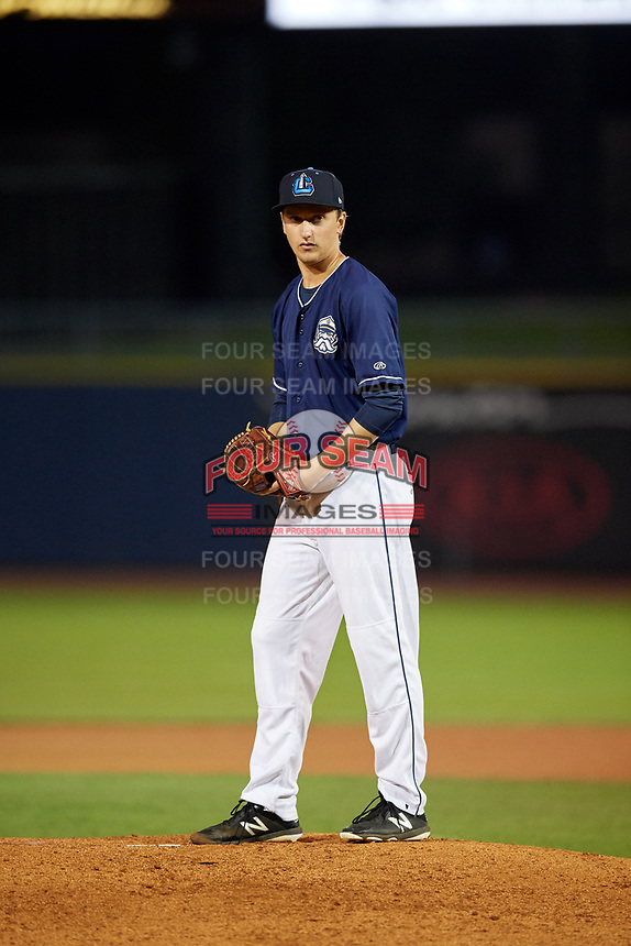 Lake County Captains starting pitcher Cameron Mingo (47) gets ready to deliver a pitch during the second game of a doubleheader against the South Bend Cubs on May 16, 2018 at Classic Park in Eastlake, Ohio.  Lake County defeated South Bend 5-2.  (Mike Janes/Four Seam Images)