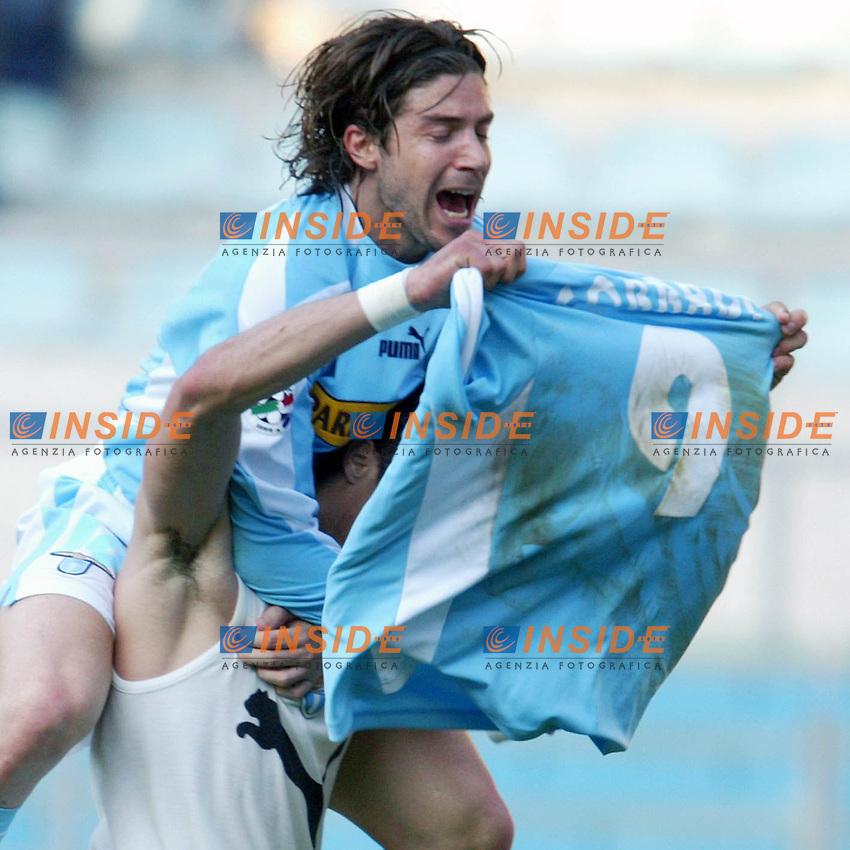 Roma 21/4/2004 CAMPIONATO ITALIANO SERIE A<br /> LAZIO - ROMA<br /> esultanza al gol di corradi <br /> FOTO Andrea Staccioli Insidefoto