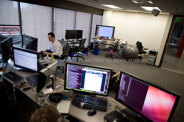 6/18/2012--Bellevue, WA, USA..Valve Software's offices in Bellevue, WASH., just east of Seattle. The office is set up as a 'boss less' office that is fluid and non-hierarchical. Desks come wheels so that they can be easily moved and reconfigured to create new work spaces for new projects...Here the empty, and unimposing desk of Valve Software's founder Gabe Newell...Stuart Isett for The Wall Street Journal