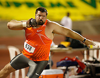 Christian Cantwell won the shot put event with a mark of  21.16m at the Jamaica International Invitational Meet on Saturday, May 2nd. 2009. Photo by Errol Anderson, The Sporting Image.net