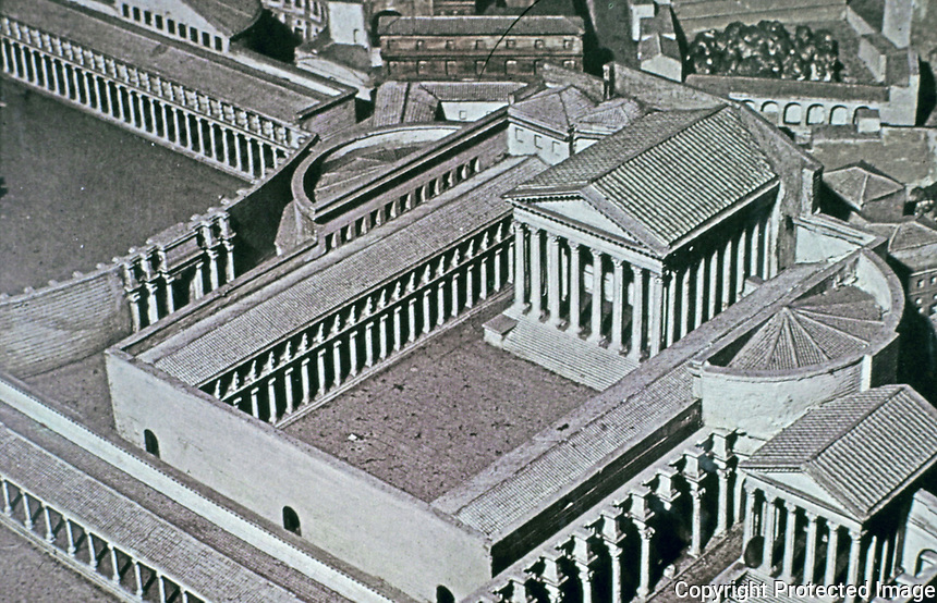 Reconstruction of the Temple of Castor and Pollux, Roman Forum, Rome, Italy.