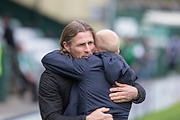 Yeovil manager Darren Way greets Wycombe manager Gareth Ainsworth ahead of the Sky Bet League 2 match between Yeovil Town and Wycombe Wanderers at Huish Park, Yeovil, England on 8 October 2016. Photo by Mark  Hawkins / PRiME Media Images.