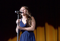 NWA Democrat-Gazette/BEN GOFF @NWABENGOFF<br /> Maddie Epley sings on Thursday Sept. 24, 2015 during Talent Night of the Miss Bentonville High School Scholarship Pageant in the school's Arend Arts Center. Evening gown, finals and awards for the pageant will be held at the school on Saturday at 7:00p.m.