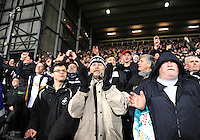 Swansea Fans celebrates Gylfi Sigurdsson of Swansea City's goal during the Barclays Premier League match between West Bromwich Albion and Swansea City at The Hawthorns on the 2nd of February 2016