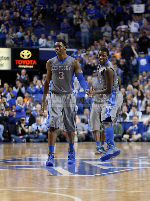 UK's Terrence Jones and Michael Kidd-Gilchrist celebrate a play against Tennessee at Rupp Arena on Tuesday, Jan. 31, 2012. Photo by Scott Hannigan | Staff