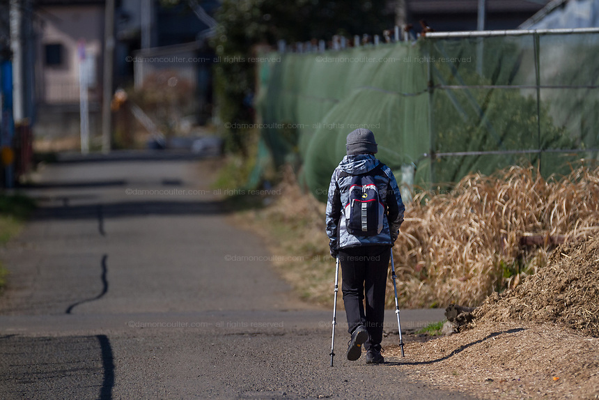 An older  Japanese woman uses hiking poles to walk in rural areas near Yamato, Kanagawa, Japan. Thursday, February 6th 2020