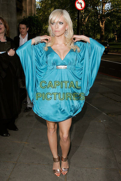 SEPTEMBER (Petra Eos Marklund).The Sony Radio Academy Awards 2009, Grosvenor House Hotel, Park Lane, London, England..May 11th, 2009.full length blue silk satin dress sleeves silver bracelet artist hands gold sandals  cleavage .CAP/AH.©Adam Houghton/Capital Pictures.