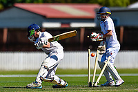 A Huntley batter is bowled during the National Primary School Cup Final between Medbury School v Huntley School at the Bert Sutcliffe Oval, Lincoln University, Christchurch, New Zealand. Wednesday 22 November 2017. Photo: John Davidson/www.bwmedia.co.nz