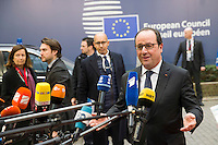 Pictured: French President Francois Hollande Thursday 18 February 2016<br /> Re: David Cameron looks set to secure European Union deal on Britain's reforms during a summit in Brussels, Belgium.