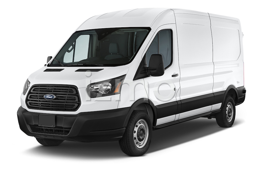 2018 Ford Transit 250 Van Med Roof Sliding Pass. 130 WB 2 Door Van Angular Front stock photos of front three quarter view