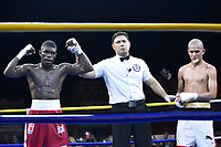 SOLEDAD-COLOMBIA- 03-06-2017: Juberjen Martinez de Los Heroícos de Colombia venció a Jorge Griñan de Los Domadores de Cuba en enfrentamiento de la semifinal de la Serie Mundial de Boxeo 2017 en velada realizada en plaza central del municipio de Soledad, Atlántico. Los Heroicos de Colombia ganaron el primer enfrentamiento a los Domadores de Cuba 3-2 en el marco de la semifinal de la Serie Mundial de Boxeo. / Juberjen Martinez of Los Heroicos of Colombia defeated to Jorge Griñan of Los Domadores of Cuba in combat for the semifinal of the World Series Boxing 2017 that be held in the central park of Soledad, Atlantico city. Los Heroicos won the first confrontation over Los Domadores  of Cuba for the semifial of World Series Boxing. Photo: VizzorImage/ Alfonso Cervantes /Cont