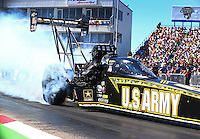 Sept. 21, 2013; Ennis, TX, USA: NHRA top fuel dragster driver Tony Schumacher during the Fall Nationals at the Texas Motorplex. Mandatory Credit: Mark J. Rebilas-