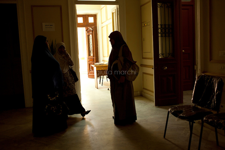Egypt / Cairo / 13.6.2012 / Muslim Sisters at the Muslim Brotherhood's Media Center in Mansour Street, Cairo. Egypt, June 2012.<br /> <br /> © Giulia Marchi