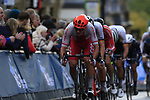 The 2nd group led by Szymon Sajnok (POL) climbs Parliment Street on the Harrogate circuit during the Men U23 Road Race of the UCI World Championships 2019 running 186.9km from Doncaster to Harrogate, England. 27th September 2019.<br /> Picture: Eoin Clarke | Cyclefile<br /> <br /> All photos usage must carry mandatory copyright credit (© Cyclefile | Eoin Clarke)