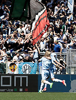 Calcio, Serie A: Roma, stadio Olimpico, 30 aprile 2017.<br /> Lazio's Dusan Basta celebrates with his teammates after scoring during the Italian Serie A football match between AS Roma an Lazio at Rome's Olympic stadium, April 30 2017.<br /> UPDATE IMAGES PRESS/Isabella Bonotto