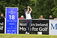 Stuart Manley (WAL) tees off the 18th tee during Sunday's Final Round of the Northern Ireland Open 2018 presented by Modest Golf held at Galgorm Castle Golf Club, Ballymena, Northern Ireland. 19th August 2018.<br /> Picture: Eoin Clarke | Golffile<br /> <br /> <br /> All photos usage must carry mandatory copyright credit (&copy; Golffile | Eoin Clarke)