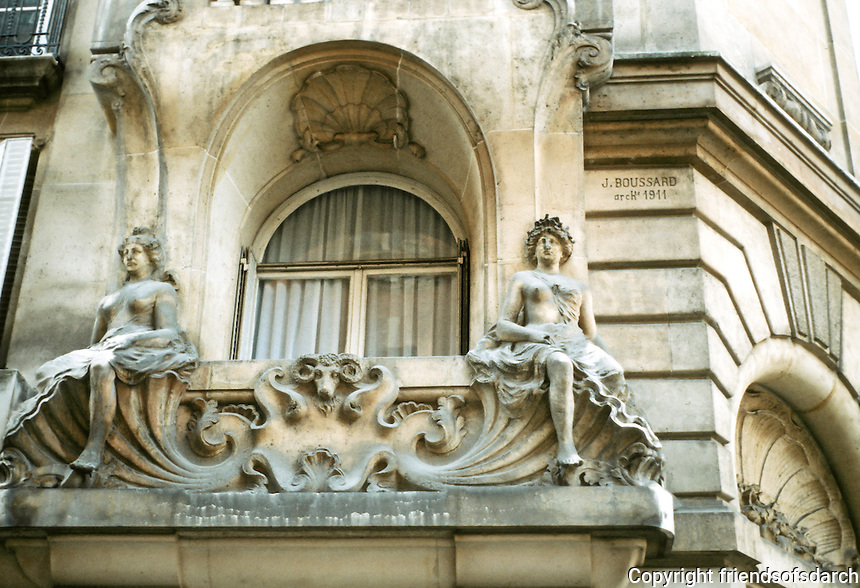 J. Boussard: Apartments at No. 4 Rue Jasmin, Paris. Sculptural detail. Note: architect's signature on building. Photo '90.