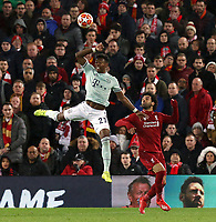 Bayern Munich's David Alaba vies for possession with Liverpool's Mohamed Salah<br /> <br /> Photographer Rich Linley/CameraSport<br /> <br /> UEFA Champions League Round of 16 First Leg - Liverpool and Bayern Munich - Tuesday 19th February 2019 - Anfield - Liverpool<br />  <br /> World Copyright © 2018 CameraSport. All rights reserved. 43 Linden Ave. Countesthorpe. Leicester. England. LE8 5PG - Tel: +44 (0) 116 277 4147 - admin@camerasport.com - www.camerasport.com