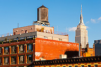 US, New York City. Empire State Building seen from the High Line park.