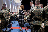 First Lady Melania Trump, center, greets Marines with United States President Donald J. Trump, not pictured, at Marine Barracks in Washington, D.C., U.S, on Thursday, Nov. 15, 2018. President Trump and the First Lady are meeting with Marines who responded to a building fire at the Arthur Capper Public Housing complex on September 9, 2018. <br /> Credit: Andrew Harrer / Pool via CNP