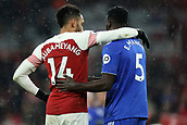 29th January 2019, Emirates Stadium, London, England; EPL Premier League Football, Arsenal versus Cardiff City; Pierre-Emerick Aubameyang of Arsenal speaks with Bruno Ecuele Manga of Cardiff City at full time