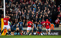 The crowd (and Dan Biggar, 10) reacts as the ball gets away from Jared Payne over the tryline during the 2017 DHL Lions Series rugby union match between the Blues and British & Irish Lions at Eden Park in Auckland, New Zealand on Wednesday, 7 June 2017. Photo: Dave Lintott / lintottphoto.co.nz