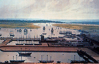 London: Docklands--Wm. Daniel's View of East India Docks, Blackwell, looking south to Greenwich, 1808.   reference only.