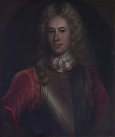 A Jacobite period portait of a militatry Munro clad wearing an armour breast plate